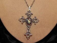 Vintage Renaissance Style Silver Tone Cross Pendant Brown Texture Glass Necklace