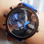 Oulm Mens Military Style Dual Time Zones Leather Band Quartz Wrist Watch Cool