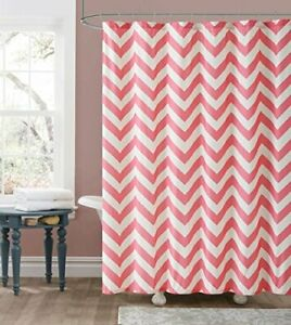 Pink Coral and Beige  Fabric Shower Curtain  Chevron Zig Zag Design