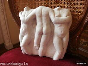 Stucco Gartenfigur 3er AKT aus Beton 150-1522b Aussenfigur Deko 7,3 KG Mann Frau