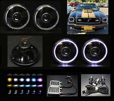 """H6012 H6015 H6024 H6017 7"""" White Halo Black Projector Headlights w Bi-Xenon HID"""