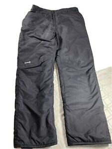 Ski Gear Snow Pants Black Elastic Adjustable Waist 100% Nylon Men's Size US XL