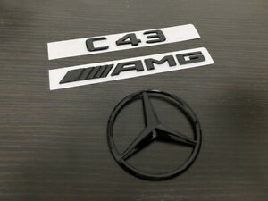 Gloss Black Coupe C43 AMG trunk star emblem badge For Mercedes-Benz C43 C205