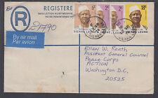 Sierra Leone Sc 423/429 uprate 1978 30c Registered Envelope to US