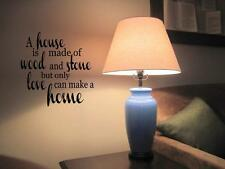 """A HOUSE IS MADE OF WOOD STONE LOVE Wall Decal Quote Lettering Words 24"""""""