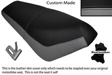 BLACK & GREY CUSTOM FITS SUZUKI AP 50 SCOOTER LEATHER DUAL SEAT COVER