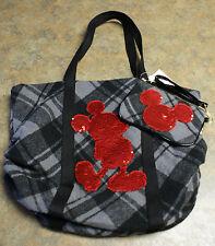 Nwt Walt Disney World Parks Mickey Plaid & Sequin Tote Bag & Wristlet Set
