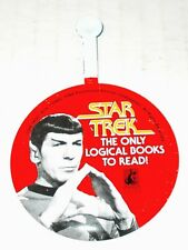 Star Trek Books vintage Mr Spock tin litho Promo Lapel Pin only logical to read