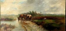 Tableau panoramique ,les chevaux au bord de la rivière, huile sur toile XIX ème