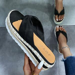 Womens Summer Platform Slippers Flip Flops Thong Sandals Comfort Beach Boho Shoe