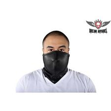 Black Leather Motorcycle Biker Face Mask Neck Warmer Perforated Mouth