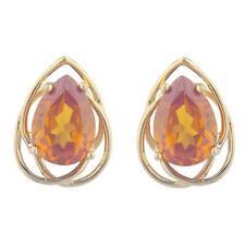 14Kt Yellow Gold Plated Orange Citrine Pear Teardrop Design Stud Earrings