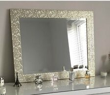 Large Mosaic Effect Silver Wall / Dressing Table Mirror BNIB