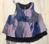 STATUS by CHENAULT - Womens Blue & Gray Abstract Tank Top Cami Shirt, LARGE