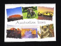 Australia Icons, Kangaroo Koala Uluru, Sydney, Jigsaw Puzzles Postcard