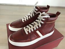 700$ Bally Red Hervey Leather High Tops Sneakers size US 10