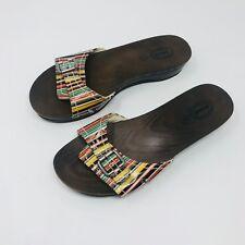 Dr Scholls Women's Open Toe Faux Wood Slip On Sandals Size 8 Buckle Rainbow