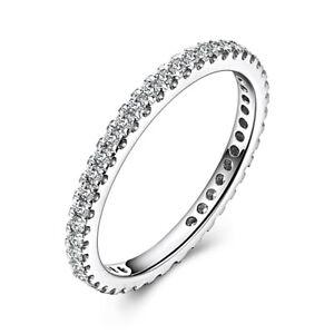 Wedding Anniversary Gift 0.4ct Genuine Moissanite Band Solid 10K White Gold Ring