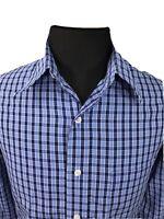 Brooks Brothers Mens Button Down Shirt Non Iron Plaid Blue Sz Large