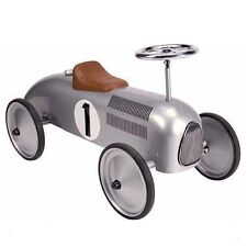 Silver Classic Ride On Toy Car Retro Vintage Strong Metal Childrens Traditional