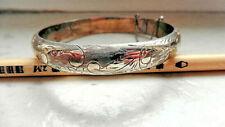 Armreifen Silber 925, Handgravur, florales Muster
