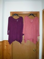 3/4 Sleeve Scoop Neck Swing Blouses XL,LG,Sonoma ,Pink & Burgundy 1/2 Button
