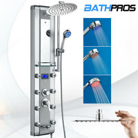 Aluminum Ultra Thin Rainfall Shower Head Spa Jet Tub Spout LED Handshower Mirror