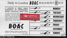 B.O.A.C. DAILY TO LONDON FROM AUSTRALIA DAILY ROLLS ROYCE COMET & 707 AD