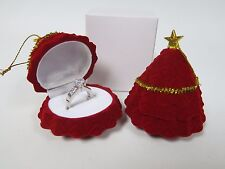 Cute Red Christmas Tree Decoration Ring Box - Xmas Gift Case Earrings Jewellery