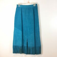 Pioneer Wear Vintage Suede Fringe Western Midi Skirt Size Small Turquoise USA