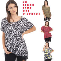 Baggy Tops Ladies Womens Blouse Oversized Leopard Print Short Sleeves T Shirt