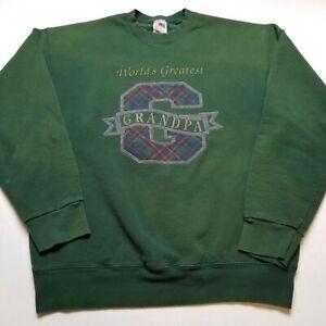 Vtg World's Greatest Grandpa Sweatshirt Mens XL Green Grandfather USA 90s ^35