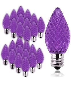 25 Pack LED Candelabra Christmas E12 Base C7 Light Bulbs (Purple)