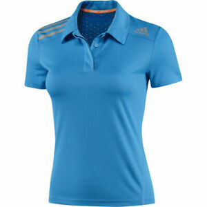 Adidas Women's Blue Climachill Premium Fitted Fitness Polo F82158