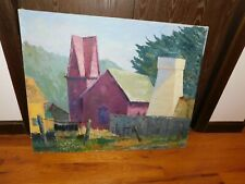 "Red Church at Mendocino Original Oil Painting Large 30 x 24"" Signed Kuizenga"