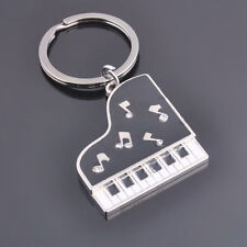 Diamante Grand Piano Shaped Silver Metal Keyring Key Chain Novelty Gift Present