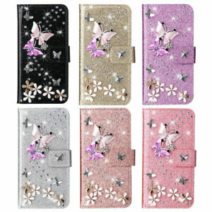 For iPhone X XS Max XR 8 7 11 12 Pro Bling Flip Leather Wallet Stand Case Cover