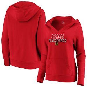 Women's Fanatics Branded Red Chicago Blackhawks Team Lockup Pullover Hoodie