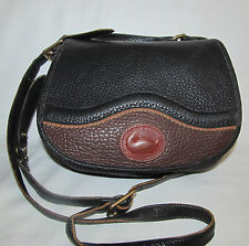 Small Vintage Dooney & Bourke Black Teton Saddle Crossbody Shoulder Bag Purse