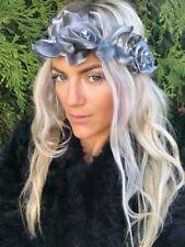 Grey Silver Diamond Flower Rose Turban Hair Wide Stretch Head Band Choochie Choo
