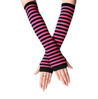 Striped Fingerless Thumb Gloves Arm Warmers Ladies Women Mittens Black and Pink