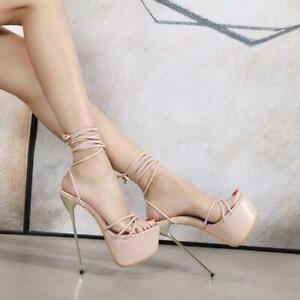 Womens Trendy Peep Toe Strappy Ankle Strap Sandals High Heels Sexy Party Shoes