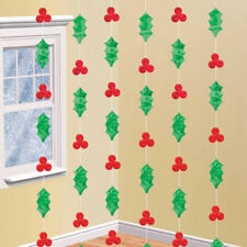Holly String Christmas Hanging Decorations x 6