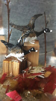 VTG Goldfeder NY Paperweight CLEAR LUCITE Artwork Birds EXCELLENT CONDITION USA