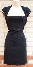 RIVER ISLAND BLACK STRIPE SEQUIN EMBROIDERED BEADED PENCIL BODYCON PARTY DRESS M