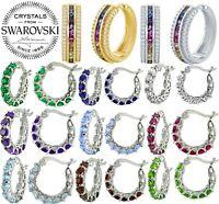 Huggie Hoop Earrings with Rainbow Color Cubic Zirconia Silver