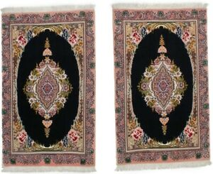 Small Classic Floral Extra Fine 2X3 Pair of Black Handmade Oriental Rugs Carpet