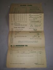 Vintage M.J. Hofmann Co. Taxidermy Supplies Brooklyn Ny. 1930s Era Mail in Form