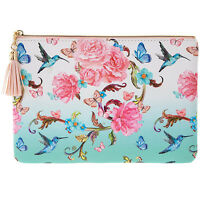 Oriental Blossom Floral Ladies Pink Blue Purse Girls Small Hand Bag Coin Pouch