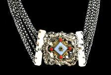 Kropfkette, Walzgold Silber Tracht 6 Reihen, Biedermeier, 35 cm Gesamtlänge